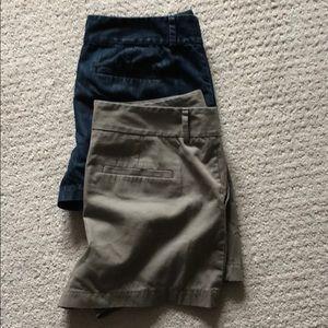 Pair of LOFT shorts size 10, denim and dark khaki